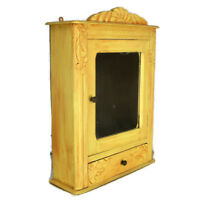 Vintage hand Carved Wood Medicine Wall Cabinet Apothecary Yellow Pediment Mirror