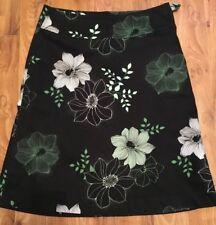 Ladies Black Flora Skirt Uk Size 10 Euro 38 From h&m Vgc Green White Flowers