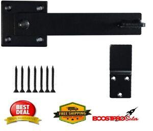 """5.5"""" Fence Gate Latch Barn Door Flip Hardware Farm Lock Heavy Duty Metal Black"""