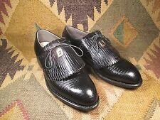 Vintage FOOTJOY Black Lizard Golf Shoes Size 8D