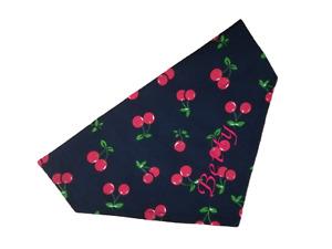 Personalised Embroidered Cherry Dog Cat Bandana - 5 Sizes