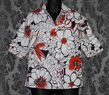 Womens size L (14-16) white, black & orange stretchy shirt made by BLACK APPLE