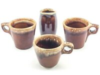 Vintage Hull USA Oven Proof Pottery Brown Drip Glaze Mugs Cups & Creamer Pitcher