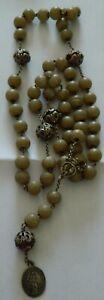 superbe collier religieux argent et perles de pierres polies