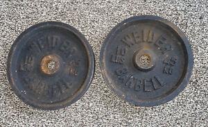 2 Vintage 10lb Weider Barbells Standard Weight Plates 20lbs Total