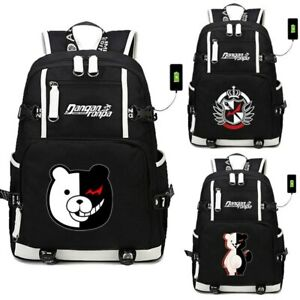 Danganronpa DanganRonpa Monokuma USB Backpack Laptop School Travel Bags Bookbag