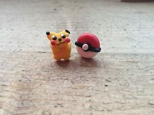 Stud Earrings Pokemon Ball And Pikachu Handmade Cute Pair Nickel Free New