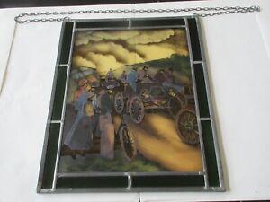 "Bernhardt Stained Glass , 11"" X 9"" , Antique , Automotive Design ,Vintage"