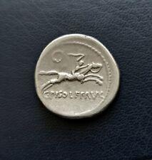 Republican Rome Silver Denarius 90 BC Calpurnius Piso Frugi Apollo & Horseman XF
