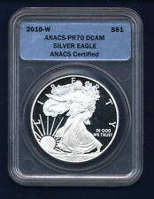 2010-W  SILVER EAGLE BULLION COIN - SUPERB PROOF - ANACS CERTIFIED PR70-DCAM