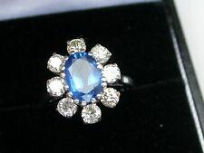 SAPPHIRE & DIAMOND CLUSTER RING. CORNFLOWER BLUE SAPPHIRE 1.85ct. 18ct GOLD