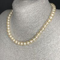 Vintage Quality Faux Pearls Choker Necklace 50s Ornate Clasp Single Strand