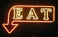 "New Eat Arrow Neon Light Sign 24""x20"" Lamp Poster Real Glass Beer Bar"