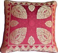 2 x Red Maroon Cushion Covers Brocade mandala 40cm Paisley Banarasi Silk Gold
