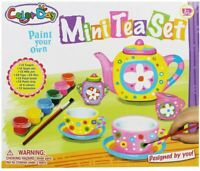 NEW Color Day Paint Decorate Make Your Own Tea Set Girls Craft Toy Birthday UK
