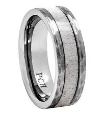Deer Antler Ring Tungsten Hammered Wedding Band 8mm Comfort Fit