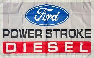 Ford Power Stroke Diesel Flag 3x5 ft White Banner Muscle Truck Man-Cave Garage