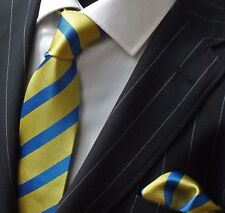 Tie Neck tie with Handkerchief Yellow & Blue Stripe