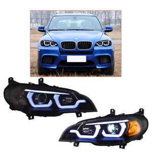 Headlight Assembly For BMW X5 E70 2007-2013 HID Projector LED DRL Replace OEM