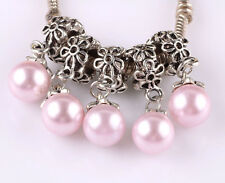 5pcs Tibetan silver pearl pendant spacer beads fit Charm European Bracelet #C513
