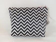 Allegro Black & White Chevron Zippered Purse Kit Cosmetic Travel Case Bag - New
