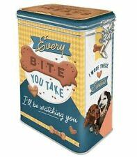 Retro EVERY BITE YOU TAKE Dog TREATS Clip Top 3D STORAGE TIN Cookie Jar DOG Food