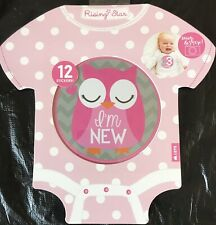 Rising Star Owl Themed Snap & Share 1st Year Milestone Belly Stickers Baby Girl