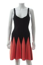 Herve Leger 'Mirte' Fit and Flare Dress / Black, Coral / RRP: £1,450.00