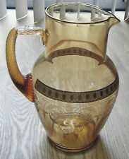 "c. 1930s Cambridge Glass Amber Jug Pitcher ""Windows"" Etch Gold Encrusted"