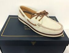 SPERRY TOP-SIDER men Gold Cup A/O 2-Eye BOAT SHOES Waterproof Leather Ivory 7.5