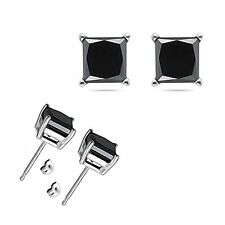 4 Carat 8MM Princess Black CZ 925 Sterling Silver White Gold Plated Stud Earring