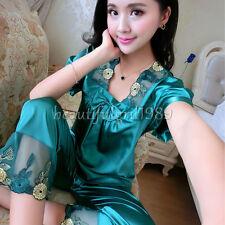 NEW Sexy Womens Silk Satin Pajamas Set Sleepwear&Robes Nightdress Nightgown#P152