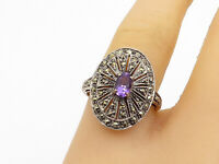 925 Sterling Silver - Vintage Amethyst & Marcasite Cocktail Ring Sz 8 - R17427