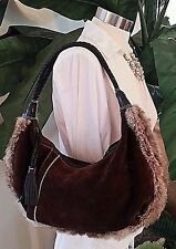 Maxx NY New York Brown Leather Suede Rabbit Fur Hobo Bag Purse Shoulder EUC