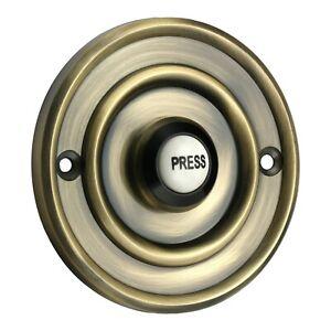 "Solid Antique 3"" Brass & China Round Victorian Door Bell Push Switch (XL1419)"