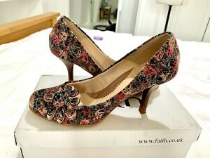 Faith - floral multicoloured leather and fabric shoe - size 39 - high heel