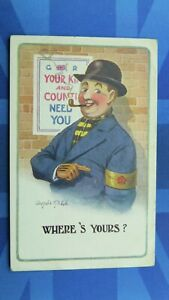WW1 Donald McGill Military Comic Postcard 1915 Lord Derby Armlet Theme No 1332