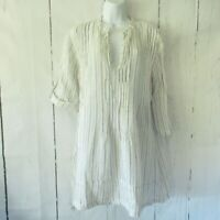 CP Shades Linen Dress S Small White Blue Stripe Tunic Top Popover Tab Sleeve