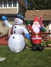 Lot 2 Christmas Snowman & Santa Claus 8 Feet Airblown Inflatables EUC Air Blown