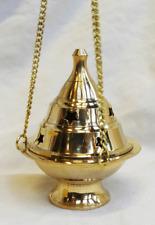 Heavy Brass Hanging Three Chain Incense / Cone Burner   - BNIB