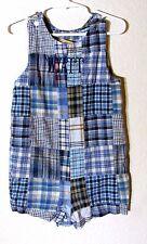 "Southern Sunshine Kids Boys Blue Plaid Monogram ""Wyatt"" Romper Size 2T"