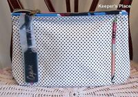 Estee Lauder Zippered CAPRI Makeup Cosmetic Travel Case White With Black Dots