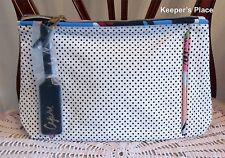Estee Lauder Zippered CAPRI Makeup Cosmetic Travel Case White With Black Dots