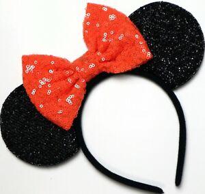 Halloween Minnie Mouse Sequin Ears Orange Mickey Mouse Sequin Halloween HANDMADE