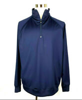 FJ FootJoy~Navy Blue Stretch Nylon Spandex 1/4 Zip Pullover ~ Mens Large ~ MINT!