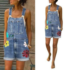 Womens Casual Denim Shorts Floral-Jumpsuits Rompers Dungarees Overalls Pants