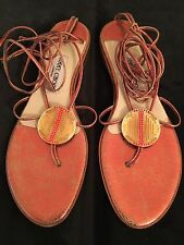 JIMMY CHOO Strappy Jeweled Ankle-strap Sandal  Sz: 40