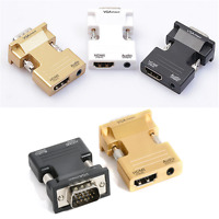 New HDMI Female to VGA Male Converter+Audio Adapter Support 1080P Signal Output