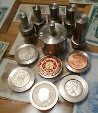 """2"""" Large Professional Coin Ring Center Punch Set Made 303 Stainless W/4 punchs"""
