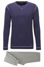 HUGO BOSS Set pigiama in morbido cotone Modello Long Set - 50372019 BLUE/GRIGIO